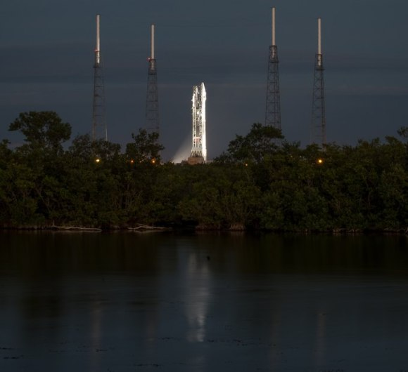 NASA's Mars Atmosphere and Volatile EvolutioN (MAVEN) spacecraft sits on an Atlas 5 rocket on Nov. 17, 2013, the day before its launch window opened. Shot taken at the Kennedy Space Center in Florida. Credit: NASA/Bill Ingalls