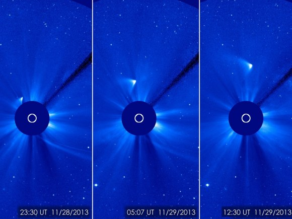 Bright, brighter, brightest: these views of Comet ISON after its closest approach to the sun Nov. 28 show that a small part of the nucleus may have survived the encounter. Images from the Solar and Heliospheric Observatory. Credit: ESA/NASA/SOHO/GSFC