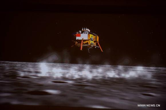 Artists concept of the rocket assisted landing of China's lunar probe Chang'e-3.
