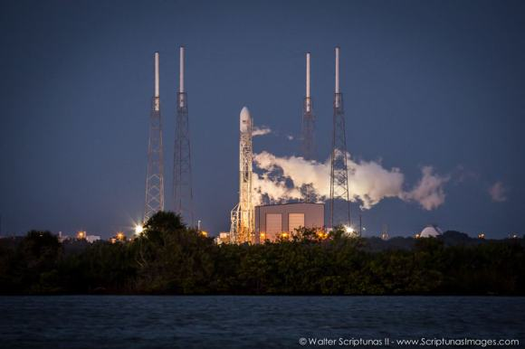A SpaceX Falcon 9 V1.1 rocket vents oxygen following Th