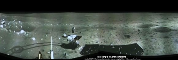 Portion of 1st panorama around Chang'e-3 landing site showing China's Yutu rover leaving tracks in the lunar soil as it drives across the Moon's surface on Dec. 15, 2013. Images taken by Chang'e-3 lander  following Dec. 14 touchdown. Panoramic view was created from screen shots of a news video assembled into a mosaic. Credit: CNSA/CCTV/screenshot mosaics & processing by Marco Di Lorenzo/Ken Kremer