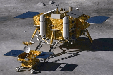 Artists concept of the Chinese Chang'e 3 lander and rover on the lunar surface.  Credit: Beijing Institute of Spacecraft System Engineering