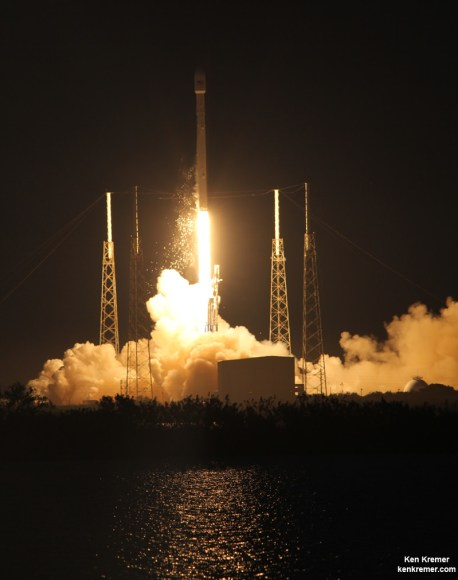 SpaceX is suing the Air Force for the right to compete for US national security satellites launches using Falcon 9 rockets such as this one which successfully launched the SES-8 communications satellite on Dec. 3, 2013 from Pad 40 at Cape Canaveral, FL. Credit: Ken Kremer/kenkremer.com