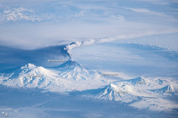 Image taken by astronauts on the International Space Station showing an oblique view of an eruption plume emanating from the Kliuchevskoi volcano on Russia's Kamchatka Penin