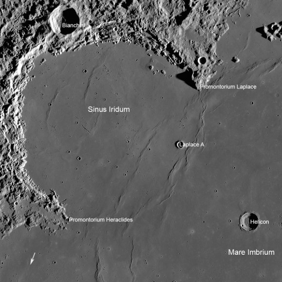 Chang'e 3 targeted lunar landing site in the Bay of Rainbows or Sinus Iridum