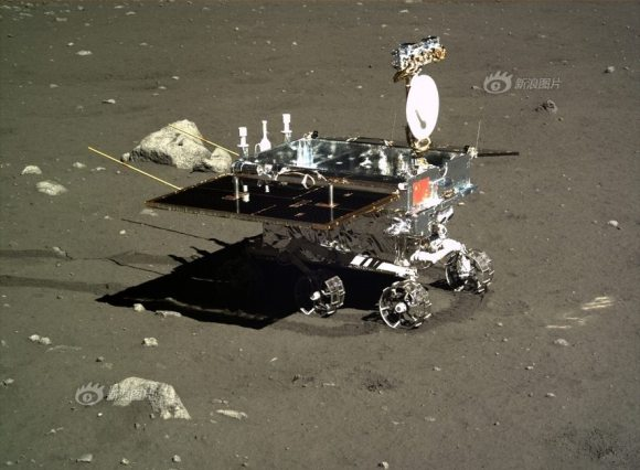 Yutu moon rover imaged by camera on the Chang'e-3 moon lander on Dec. 16, 2