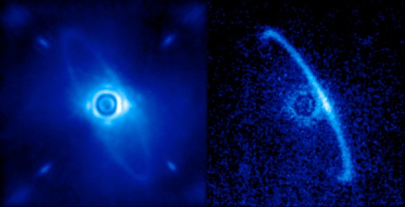 GPI first-light images of HR4796A. (Processing by Marshall Perrin, Space Telescope Science Institute.)