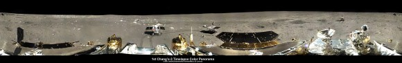 360-degree time-lapse color panorama from China's Chang'e-3 lander This 360-degree time-lapse color panorama from China's Chang'e-3 lander shows the Yutu rover at three different positions during its trek over the Moon's surface at its landing site from Dec. 15-22, 2013 during the 1st Lunar Day. Credit: CNSA/Chinanews/Ken Kremer/Marco Di Lorenzo – kenkremer.com