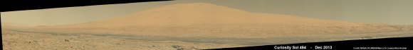 Curiosity Celebrates 500 Sols on Mars on Jan. 1, 2014.  NASA's Curiosity rover snaps fabulous new mosaic spying towering Mount Sharp destination looming dead ahead with her high resolution color cameras. Imagery assembled from Mastcam raw images taken on Dec. 26, 2013 (Sol 494).   Credit: NASA/JPL/MSSS/Marco Di Lorenzo/Ken Kremer- kenkremer.com