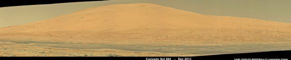 Curiosity Celebrates 500 Sols on Mars on Jan. 1, 2014.  NASA's Curiosity rover snaps fabulous new mosaic spying towering Mount Sharp destination looming dead ahead with her high resolution color cameras, in this cropped view. See full mosaic below. Imagery assembled from Mastcam raw images taken on Dec. 26, 2013 (Sol 494).   Credit: NASA/JPL/MSSS/Marco Di Lorenzo/Ken Kremer- kenkremer.com