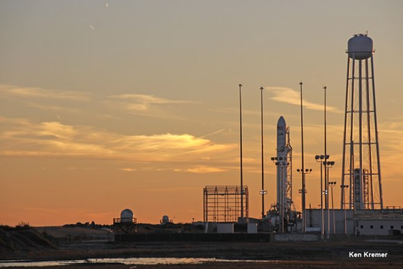 Antares commercial rocket built by Orbital Sciences Corp. glistens at dusk on Jan. 7 amidst bone chilling cold ahead of blastoff scheduled for Jan. 8, 2014 from NASA Wallops Island, Virginia. Credit: Ken Kremer - kenkremer.com