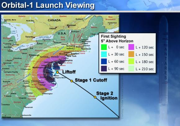 Orbital 1 Launch from NASA Wallops Island, VA on Jan. 8, 2014- Time of First Sighting Map   This map shows the rough time at which you can first expect to see Antares after it is launched on Jan. 8, 2014. It represents the time at which the rocket will reach 5 degrees above the horizon and varies depending on your location . We have selected 5 degrees as it is unlikely that you'll be able to view the rocket when it is below 5 degrees due to buildings, vegetation, and other terrain features. As an example, using this map when observing from Washington, DC shows that Antares will reach 5 degrees above the horizon approximately 100 seconds after launch (L + 100 sec).   Credit: Orbital Sciences/NASA