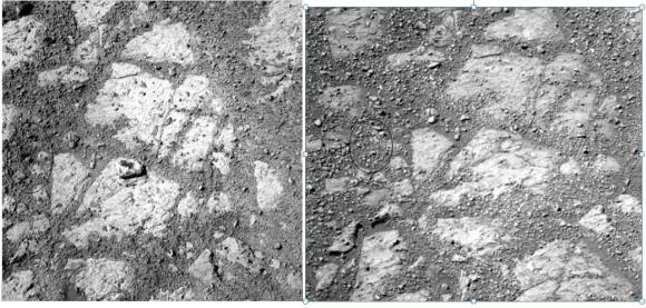 Two images from the Opportunity rover from Sol 3528 (right) and Sol 3540 showing possible location of where the 'Jelly Donut' rock came from. Image credit: Credit: NASA/JPL-Caltech/Cornell Univ./Arizona State Univ., notation via Yuksel Kenaroglu.