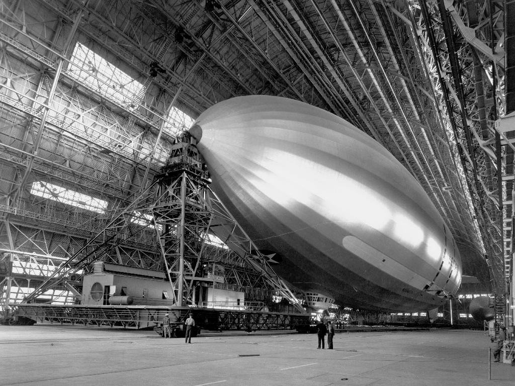 An undated photo showing a blimp inside Hangar One. The facility began as a facility for airships in the 1930s. Credit: NASA Ames Research Center