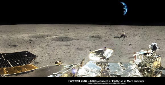 Farewell Yutu -  artistic impression of Earthrise over Yutu at lunar landing site. This composite photomosaic combines farewell view of China's Yutu rover with Moon's surface terrain at Mare Imbrium landing site and enlarged photo of Earth, all taken by Chang'e-3 lander.  Not a science image.  Credit: CNSA/Chinanews/Ken Kremer/Marco Di Lorenzo – kenkremer.com