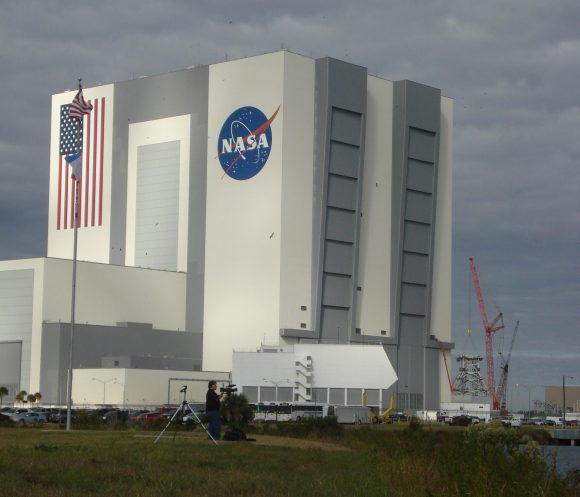 The Vehicle Assembly Building at the Kennedy Space Center in Florida on Nov. 16, 2009, just hours before the launch of STS-129. Credit: Elizabeth Howell