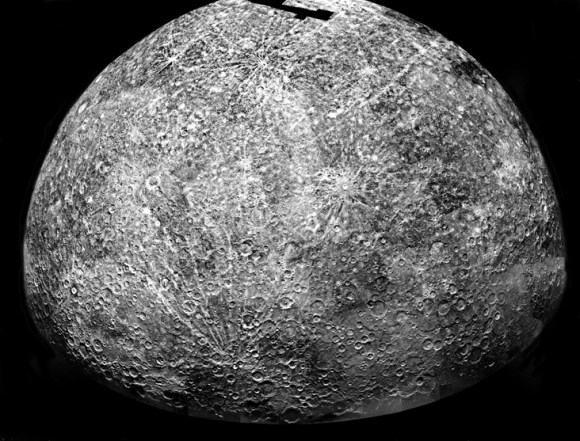 Mariner 10's Mercury.  This is a photomosaic of images collected by Mariner 10 as it flew past Mercury on 29 March 1974.  It shows the southern hemisphere.  The spacecraft took more than 7,000 images of Mercury, Venus, the Earth, and the moon during its mission.  Credit: NASA