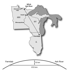 The 500-mile (800 km) path of the NOvA neutrino beam (Fermilab)