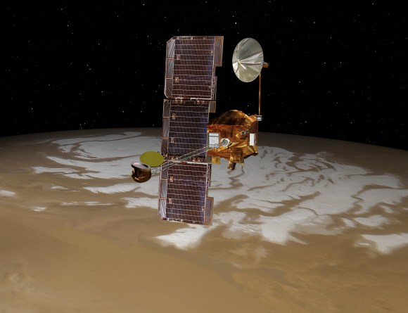 Artist's conception of the Mars Odyssey spacecraft. Credit: NASA/JPL