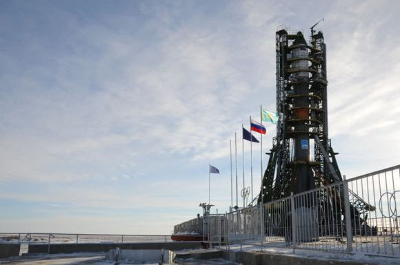 The Soyuz-U rocket sits ready for launch at the baikonur Cosmodrome earlier today. Credit: The Russian Space Agency.