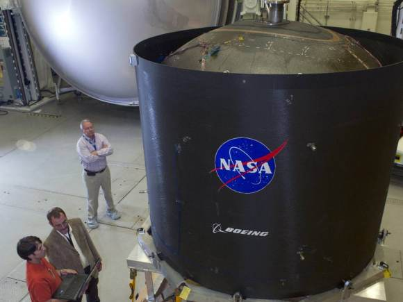 As of 2014, NASA and Boeing are developing a propellant tank made of composite materials to hold cryogenic (low-temperature) gases in space. Initially slated for a 2018 test flight, NASA's 2015 budget will keep these tanks on the ground for the foreseeable future. Credit: NASA/MSFC/Emmett Given