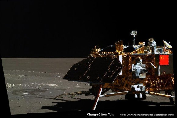 Mosaic of the Chang'e-3 moon lander and the lunar surface taken by the camera on China's Yutu moon rover from a position south of the lander during Lunar Day 3. Note the landing ramp and rover tracks at left. Credit: CNSA/SASTIND/Xinhua/Marco Di Lorenzo/Ken Kremer