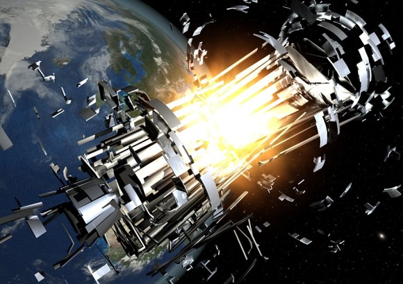 Artist's impression of a satellite exploding. Credit: ESA