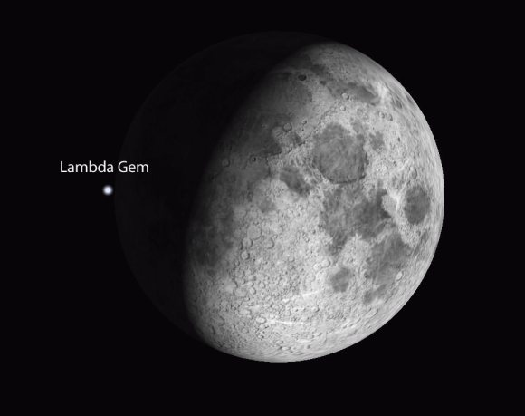 Lambda Geminorum at 10:43 p.m. March 11 just two minutes before disappearing behind the moon as seen from Minneapolis, Minn. US. Stellarium