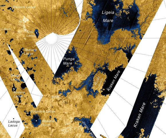 Map of Titan's northern region of hydrocarbon 'seas' created from Cassini radar imaging. Credit: NASA/JPL/USGS.