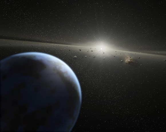 Artist's impression of a massive asteroid belt in orbit around a star. Credit: NASA-JPL / Caltech / T. Pyle (SSC)