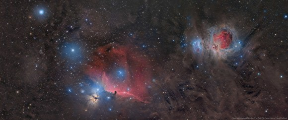 A panoramic view of the Great Orion Nebula and the Horsehead Nebula including the very familiar three bright stars of Orion's belt.  This was captured in January, February and early March 2014 over 8 nights. Credit and copyright: Terry Hancock