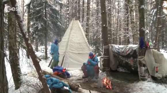 Astronauts participate in survival training in early 2014 in the wilderness near Star City, Russia. Credit: European Space Agency (YouTube)