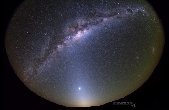 The Milky Way, The Large and Small Magellanic Clouds, Zodiacal Light, and Venus as seen from the Karoo Desert in South Africa early this month. Credit: Cory Schmitz.
