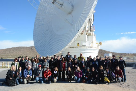 The participants of the DSN NASA Social gathered in front of the DSS-14 70-meter antenna at Goldstone, April 2, 2014.