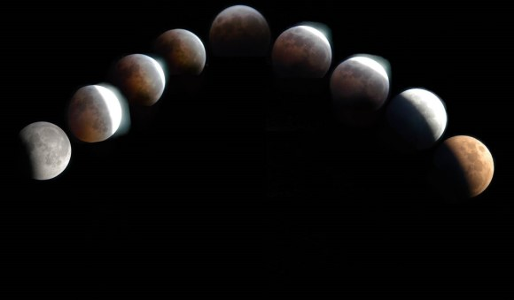 A mosaic of the 2003 total lunar eclipse. photos by author.