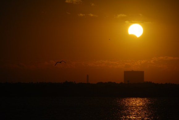 The 2013 partial eclipse rising over the Vehicle Assembly Building along the Florida Space Coast. This month's solar eclipse will offer comparable sunset views for eastern Australia. Photo by author.