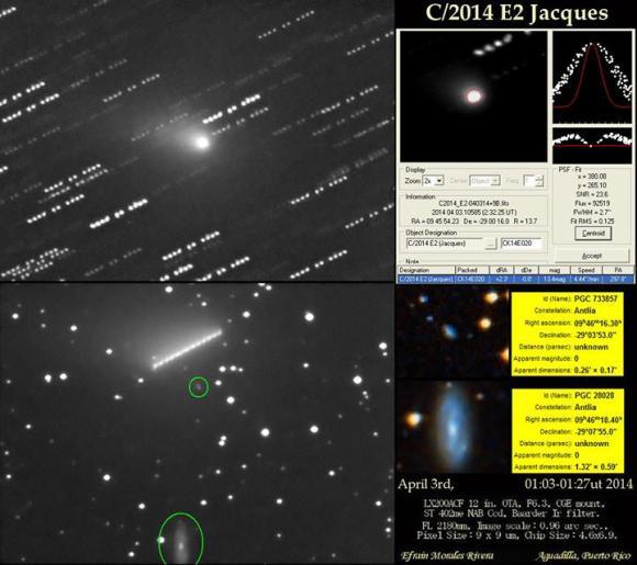 Comet Jacques photographed on April 3, 2014. Credit: Efrain Morales