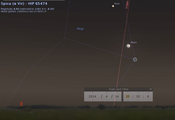 Mars, the Full Moon and Spica rising in the east on April 14th. Created using Stellarium.