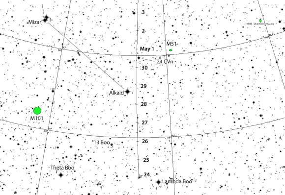Comet K5 PANSTARRS glides from northern Bootes up the handle of the Big Dipper this coming week not far from the famed Whirlpool Galaxy M51. This map shows the sky facing eas