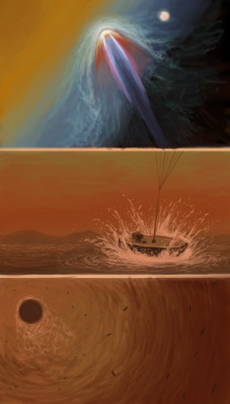 An illustration showing how a sailboat mission to Titan might land and become operational. Copyright: Estevan Guzman for Universe Today.