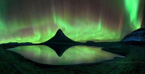 Aurora and starry skies at Mount Kirkjufell, Iceland on April 2, 2014. Credit