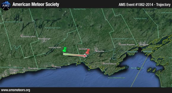 The likely trajectory of the fireball seen on May 4, 2014 over parts of Ontario Canada. Graphic courtesy American Meteor Society.