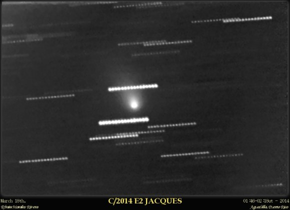 Comet Jacques as imaged on March 18th, shortly after discovery. Credit: Efrain Morales Rivera.
