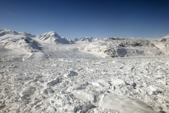 Floating ice at the calving front of Greenland's Kangerdlugssuaq glacier, photographed in 2011 during Operation IceBridge (Credit: NASA/Michael Studinger)