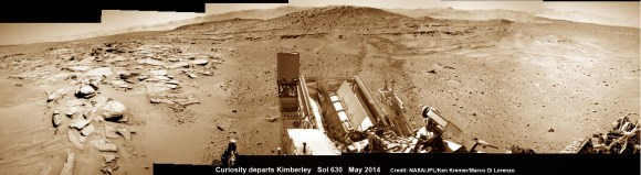 Curiosity's panoramic view departing Mount Remarkable and 'The Kimberley Waypoint' where rover conducted 3rd drilling campaign inside Gale Crater on Mars. The