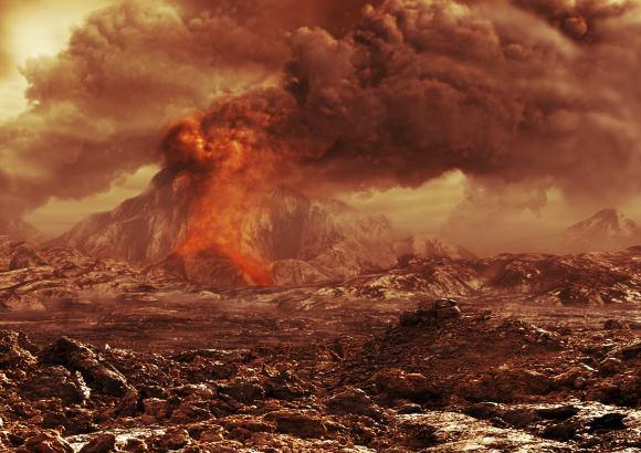 Artist's impression of an active volcano on Venus. One long-term study of the planet showed that sulphur dioxide is being continually put into the atmosphere. One explanation for that could be volcanic activity, although others exist (such as changes in atmospheric circulation). Credit: ESA/AOES