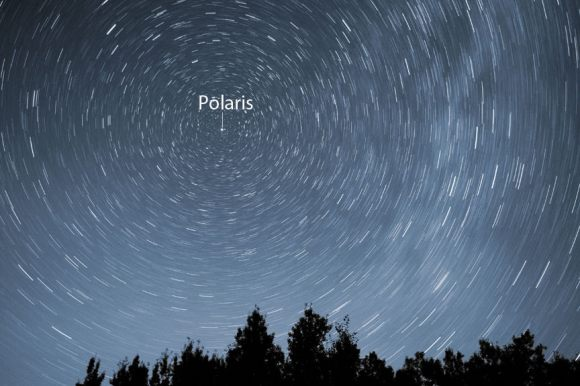 Time exposure centered on Polaris, the North Star. Notice that the closer stars are to Polaris, the smaller the circles they describe. Stars at the edge of the frame make much larger circles. Credit: Bob King