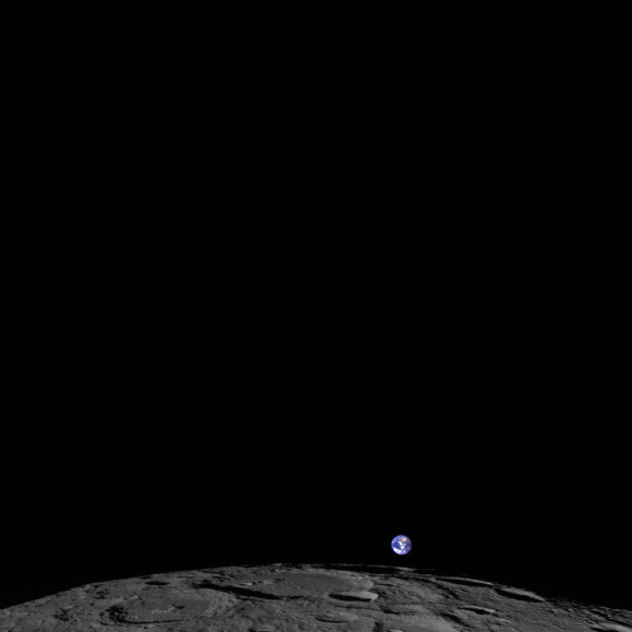 The Moon, tiny Earth and the vastness of space,as seen by the Lunar Reconnaissance Orbiter Wide Angle Camera (WAC). Credit: NASA/GSFC/Arizona State University.
