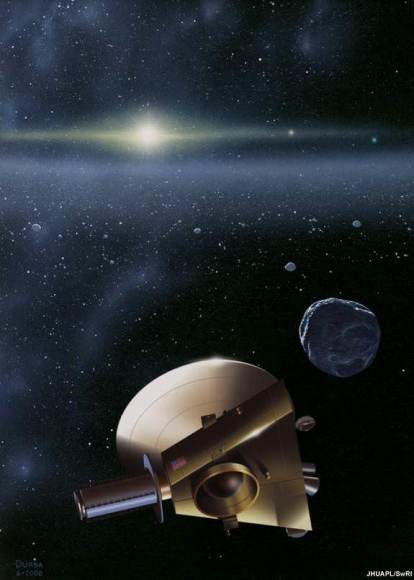 An artist's conception of a KBO encounter by New Horizons. Credit: JHUAPL/SwRI.