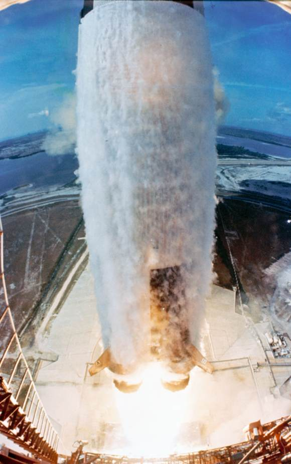 The Saturn V rocket bearing Apollo 11 lifts off from the Kennedy Space Center on July 20, 1969. Credit: NASA